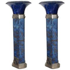 Monumental Art Deco Oversized deep blue Enameled Terracotta Columns / Torcheres