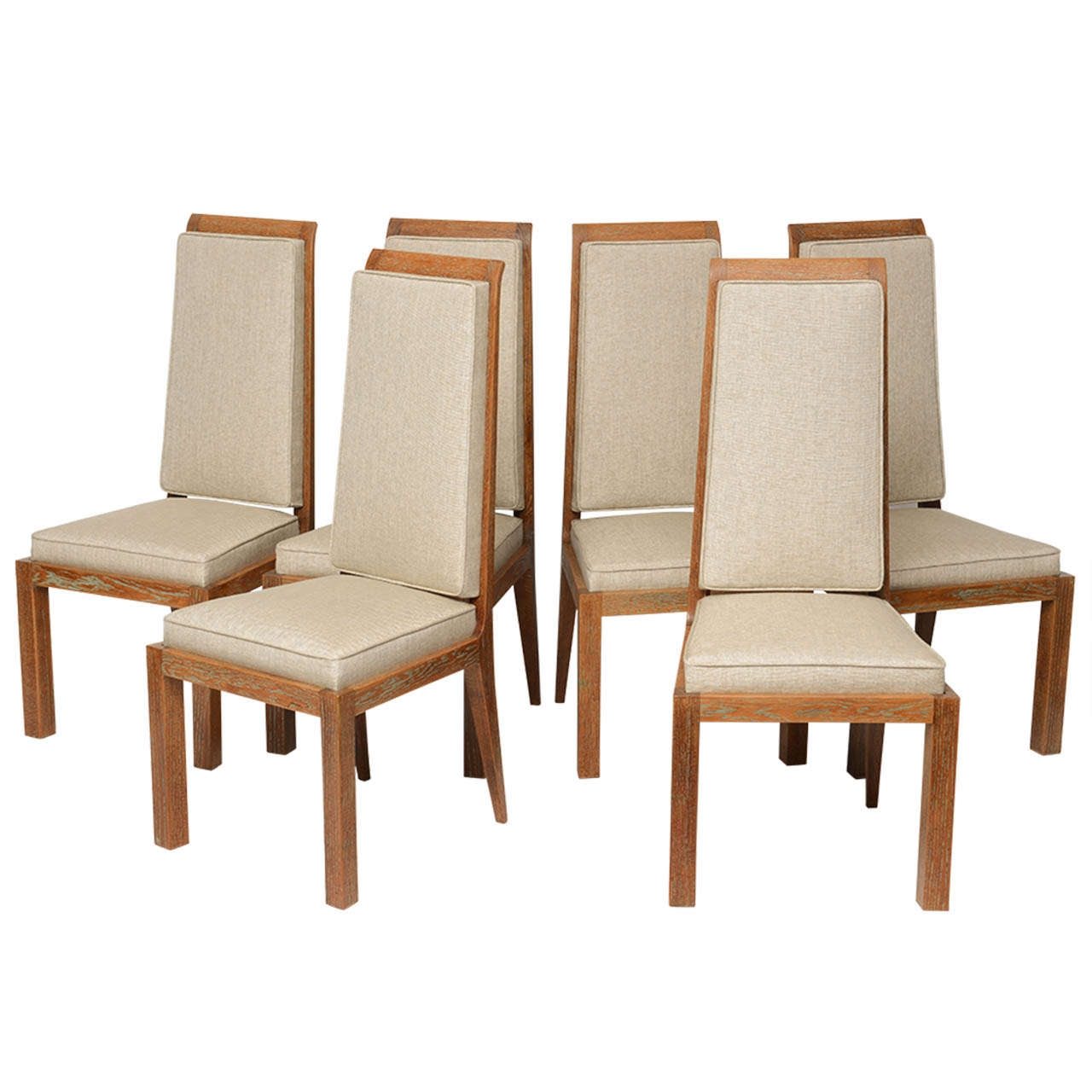 set of six deco dining chairs by maurice jallot in
