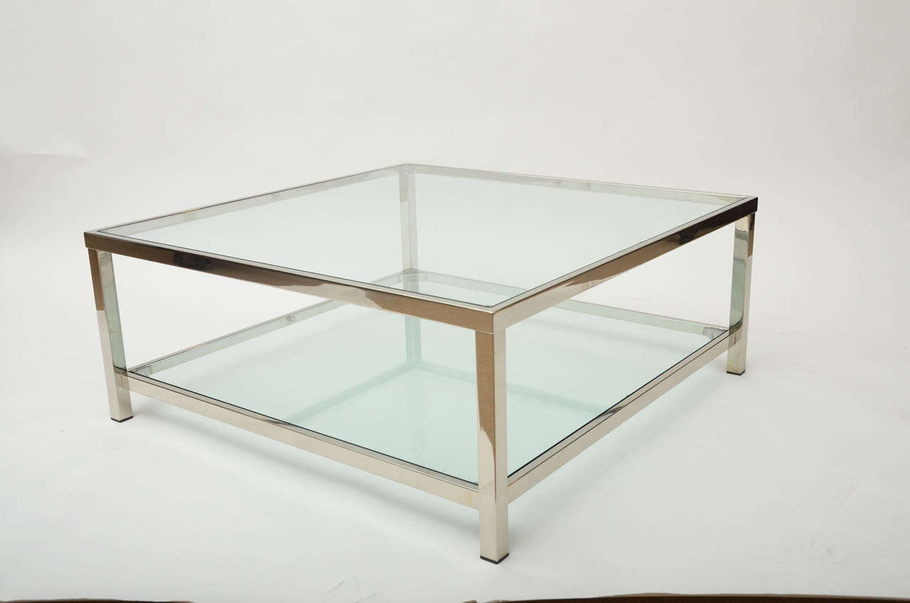 Chrome and Glass Square Coffee Table 2 - Chrome And Glass Square Coffee Table At 1stdibs