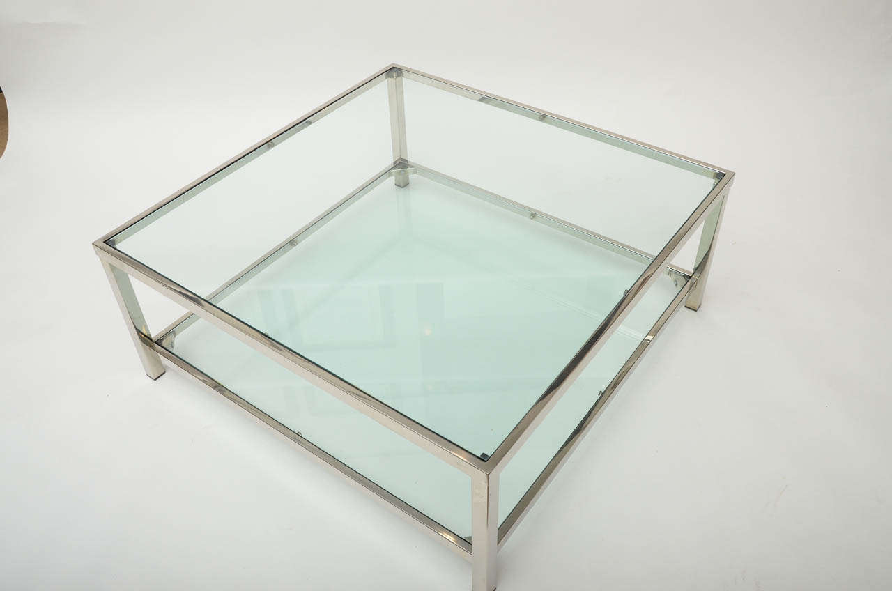 Chrome and glass square coffee table at 1stdibs for Small square glass coffee table