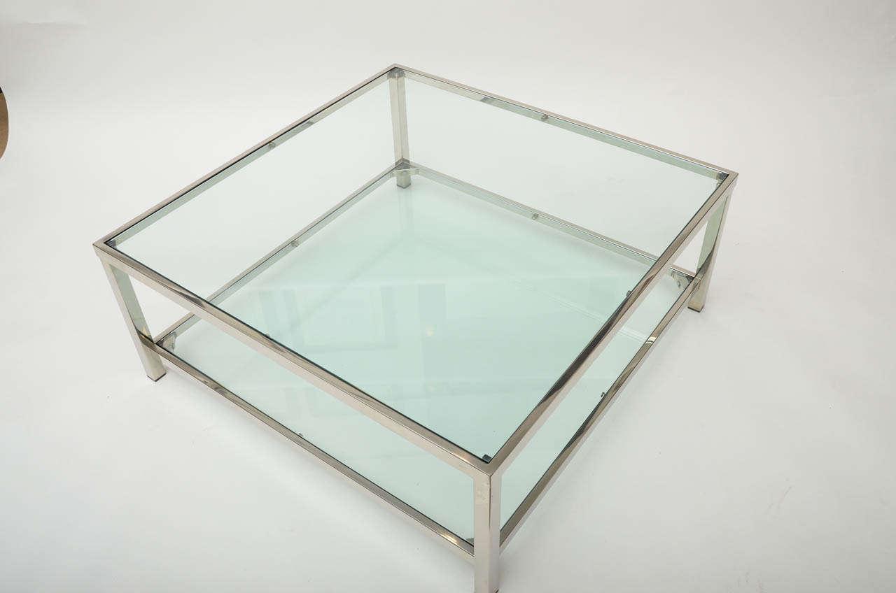 Chrome and Glass Square Coffee Table 3 - Chrome And Glass Square Coffee Table At 1stdibs