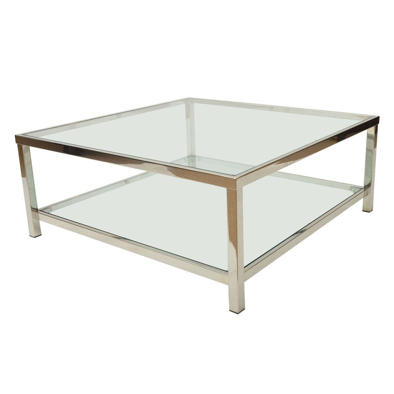 Superieur Chrome And Glass Square Coffee Table For Sale