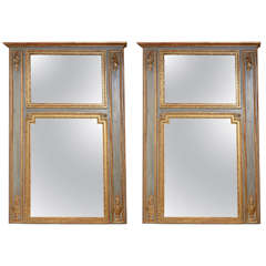 Pair of 18c. Painted and Parcel Gilt Trumeau Mirrors