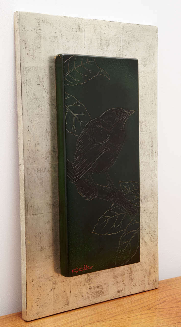 Lacquered Panel with a Blackbird, by Gaston Suisse, 1930s 2