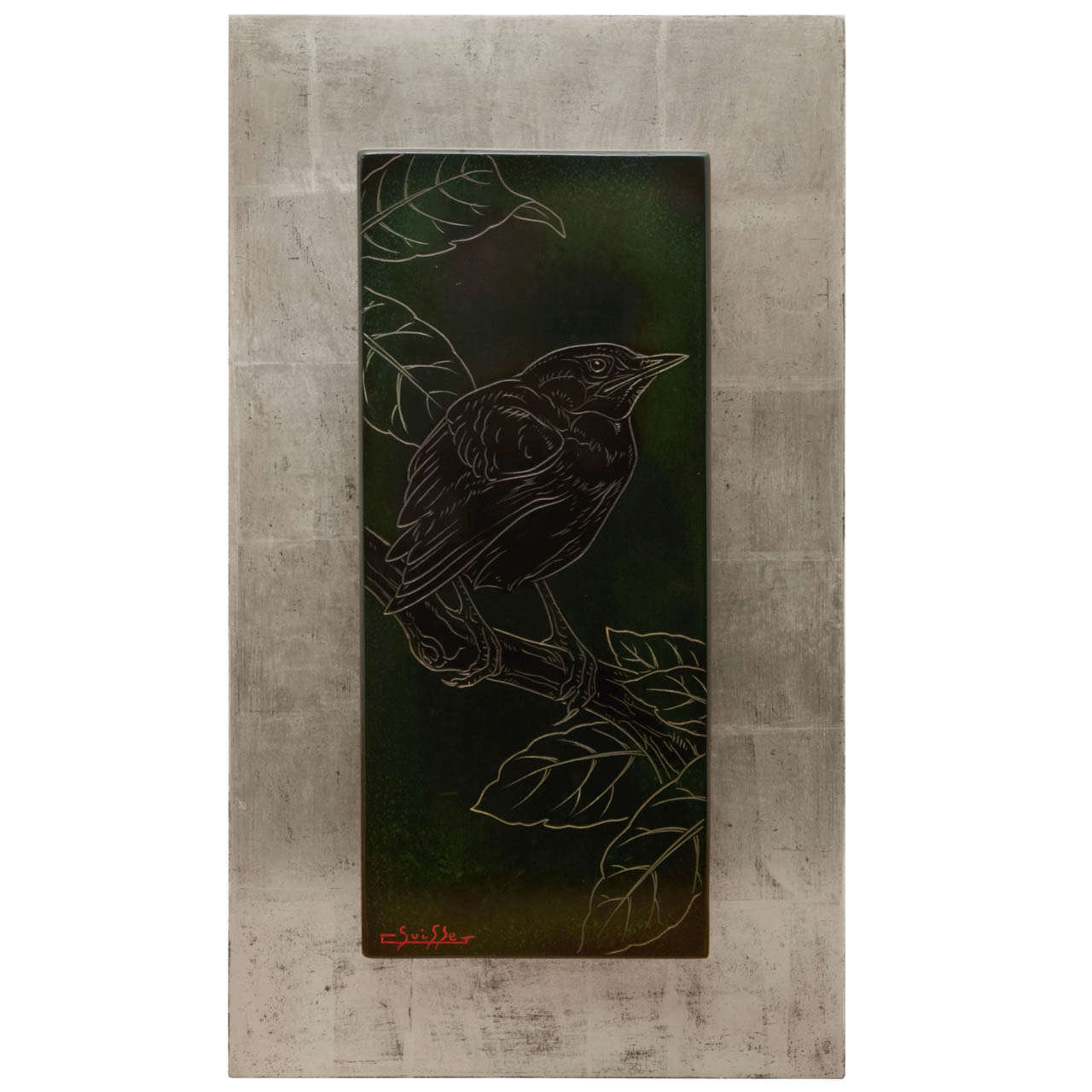 Lacquered Panel with a Blackbird, by Gaston Suisse, 1930s 1