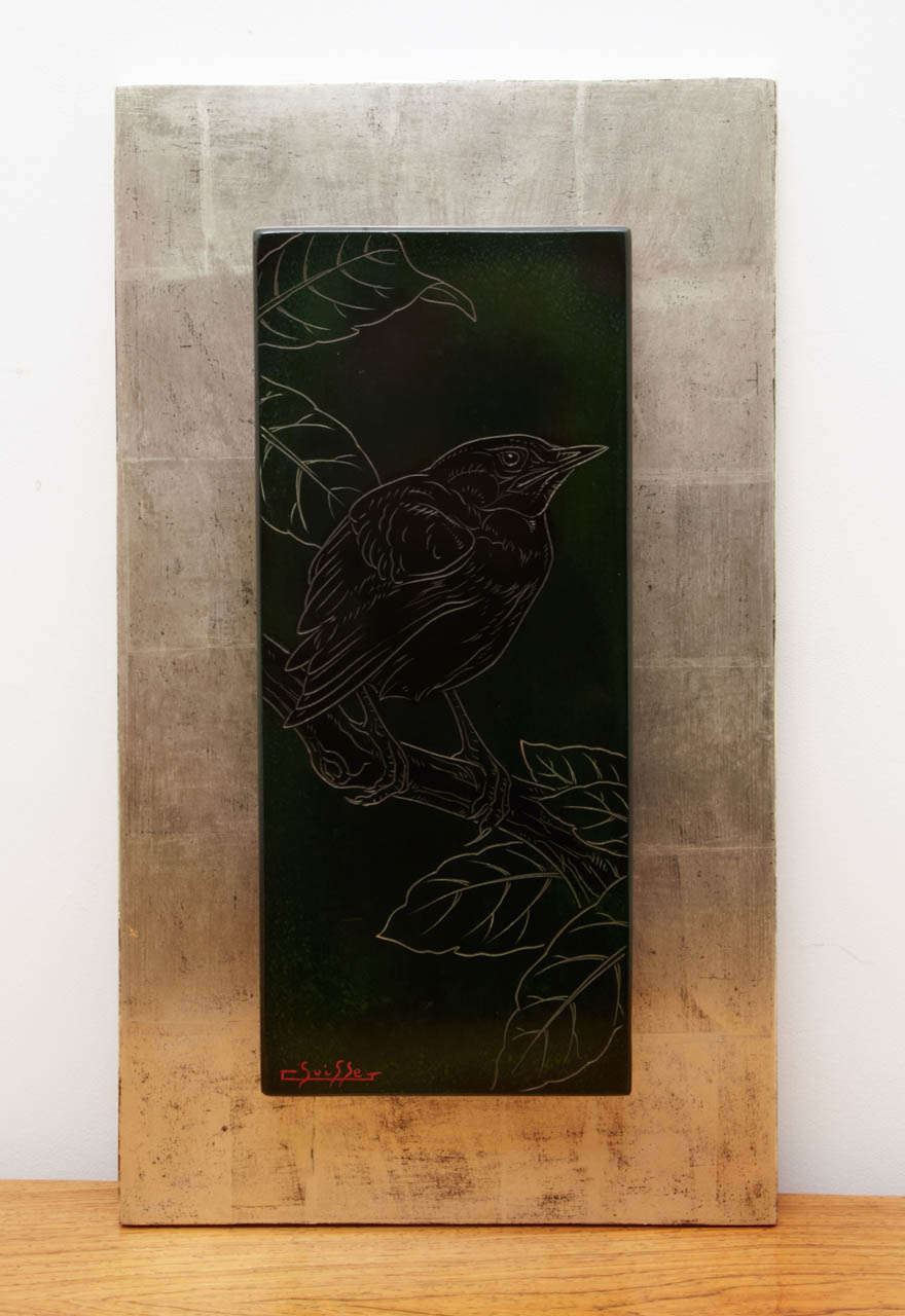 Lacquered Panel with a Blackbird, by Gaston Suisse, 1930s 3