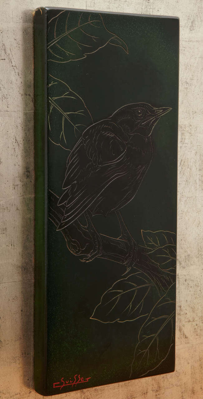 Lacquered Panel with a Blackbird, by Gaston Suisse, 1930s 6