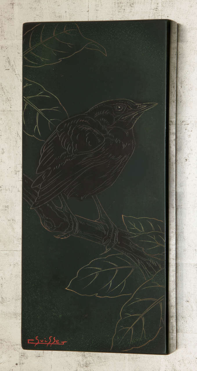 Lacquered Panel with a Blackbird, by Gaston Suisse, 1930s 7