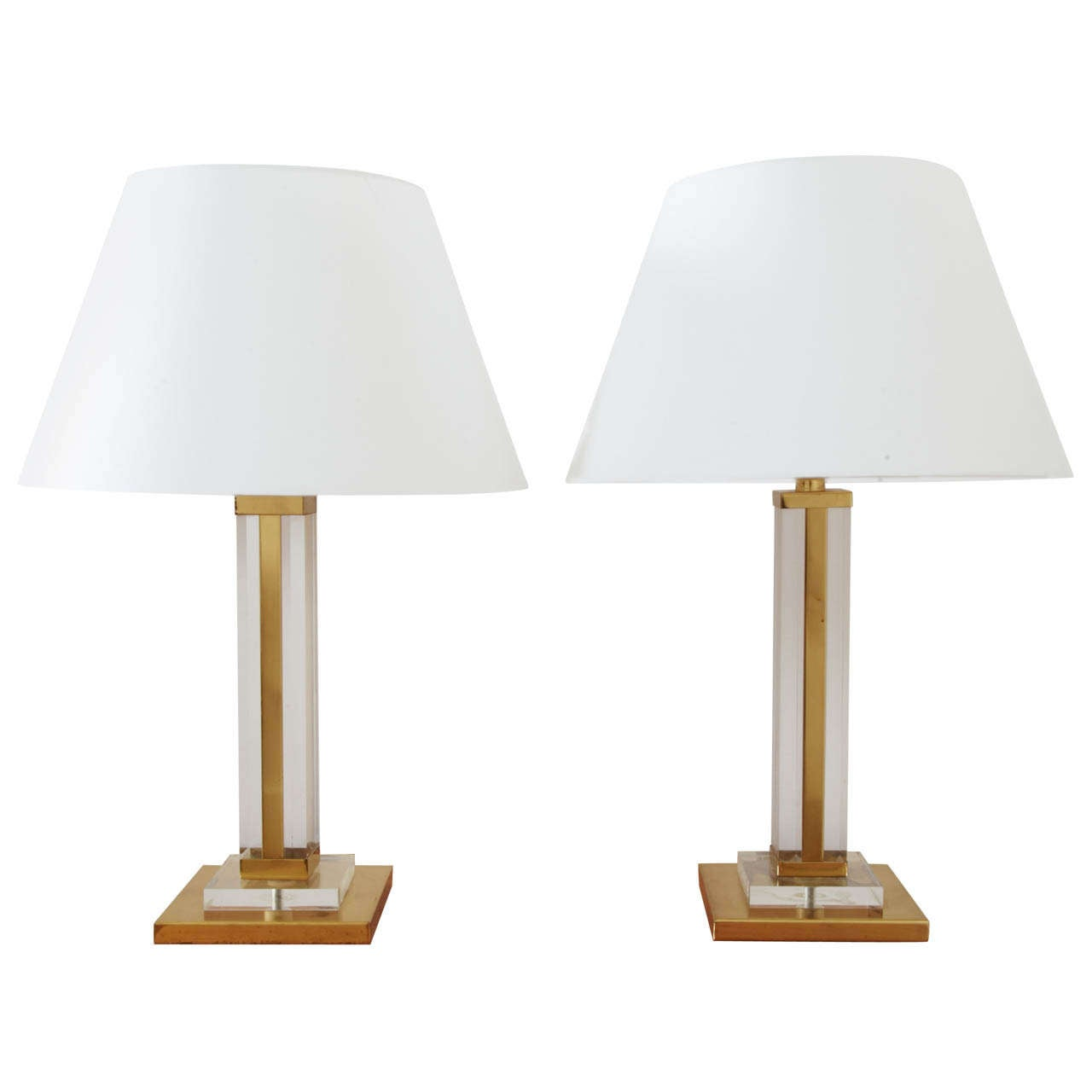 Pair Of Gilt Brass And Lucite Square Table Lamps, France 1970's