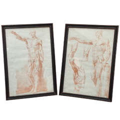 19th Century Pair of Sanguine Drawings