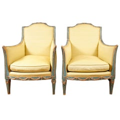 Pair of Green Italian Neoclassical Style Painted and Parcel-Gilt Armchairs