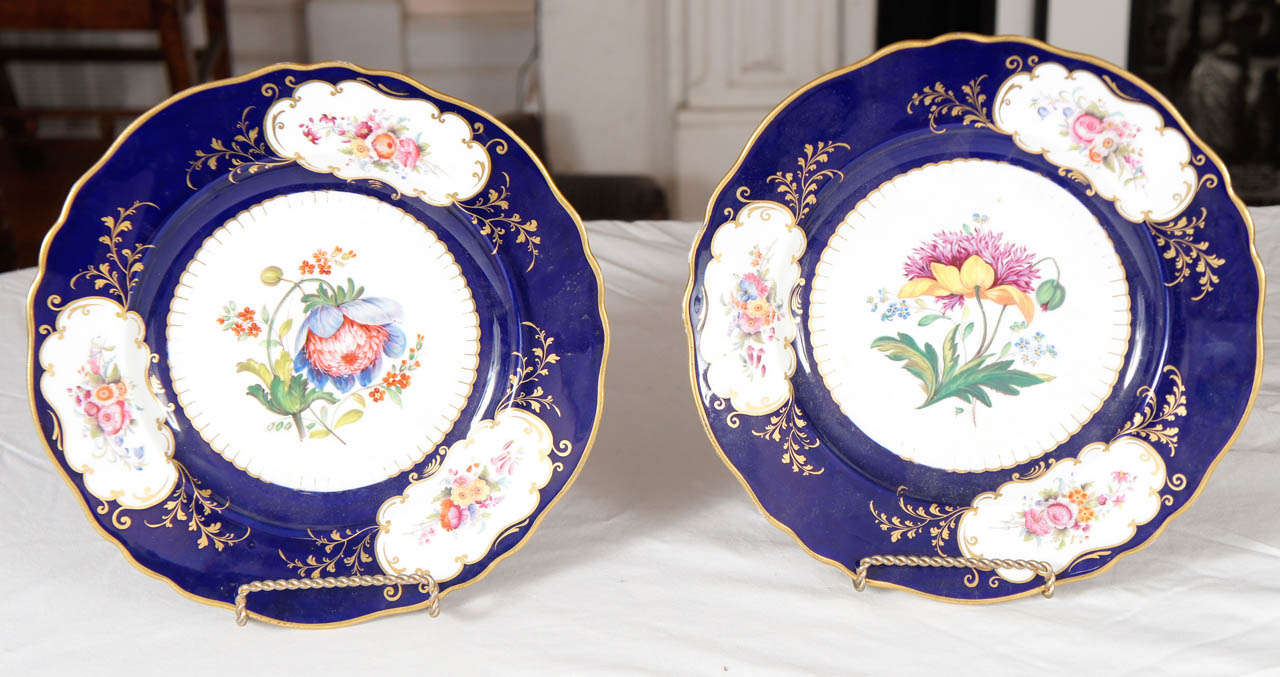 Pair of similar John Ridgway porcelain service plates, circa 1830. Decorated on both plates with the passion flower, the symbol for Marie Antoinette, one with blue petals and the other with yellow. Cobalt blue borders with three cartouche on each