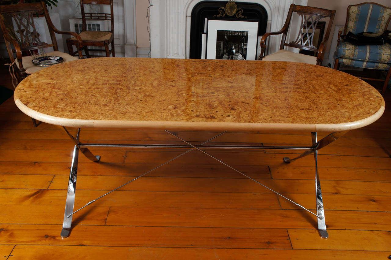 Oval Burl Maple Dining Table on Stainless Steel Base For Sale at ...