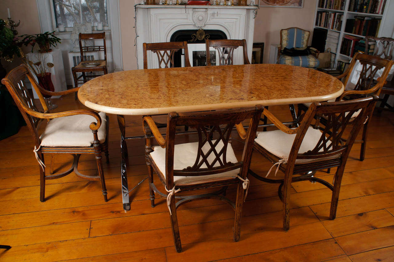 oval burl maple dining table on stainless steel base for sale at 1stdibs. Black Bedroom Furniture Sets. Home Design Ideas