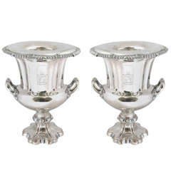 Pair of Old Sheffield Plated Wine Coolers