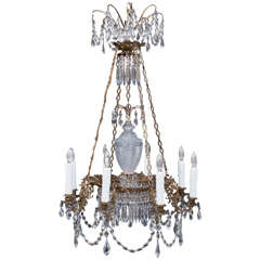 Neoclassic Eight-Light Gilt Brass and Crystal Chandelier, Sweden, Circa:1820