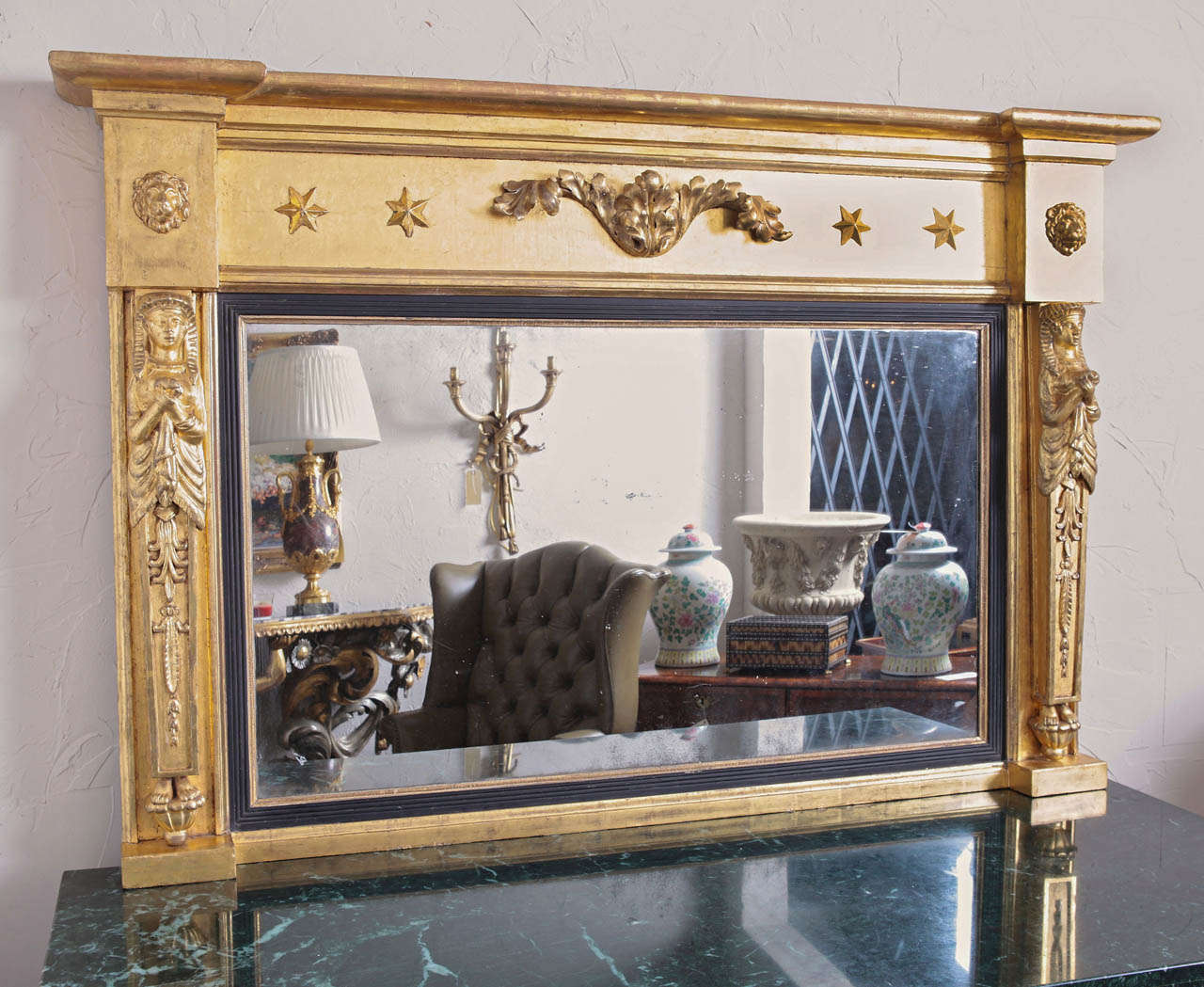 Regency water gilded over mantle mirror at 1stdibs for Mantel mirrors