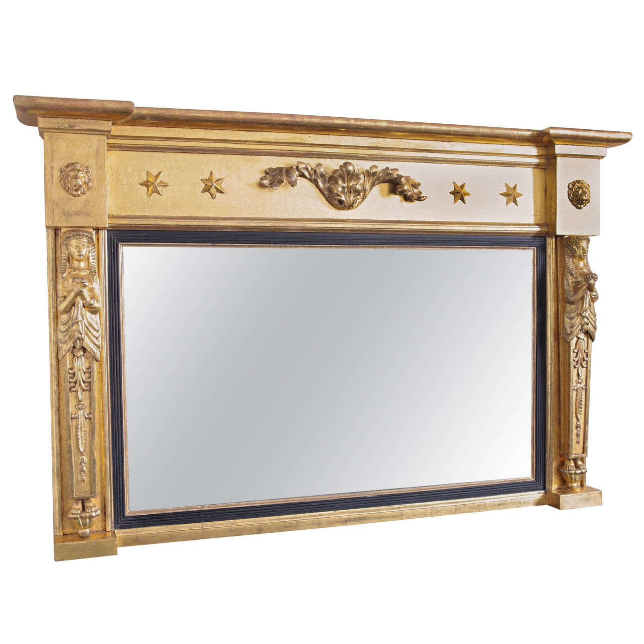 Regency water gilded over mantle mirror for sale at 1stdibs for Mantel mirrors