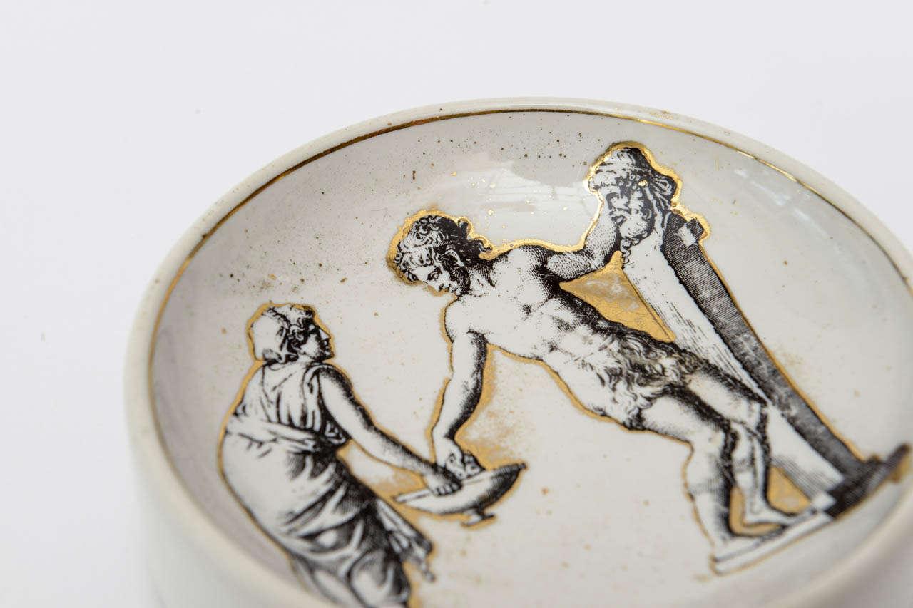 Italian Piero Fornasetti Porcelain Bowl Mid-Century Modern For Sale