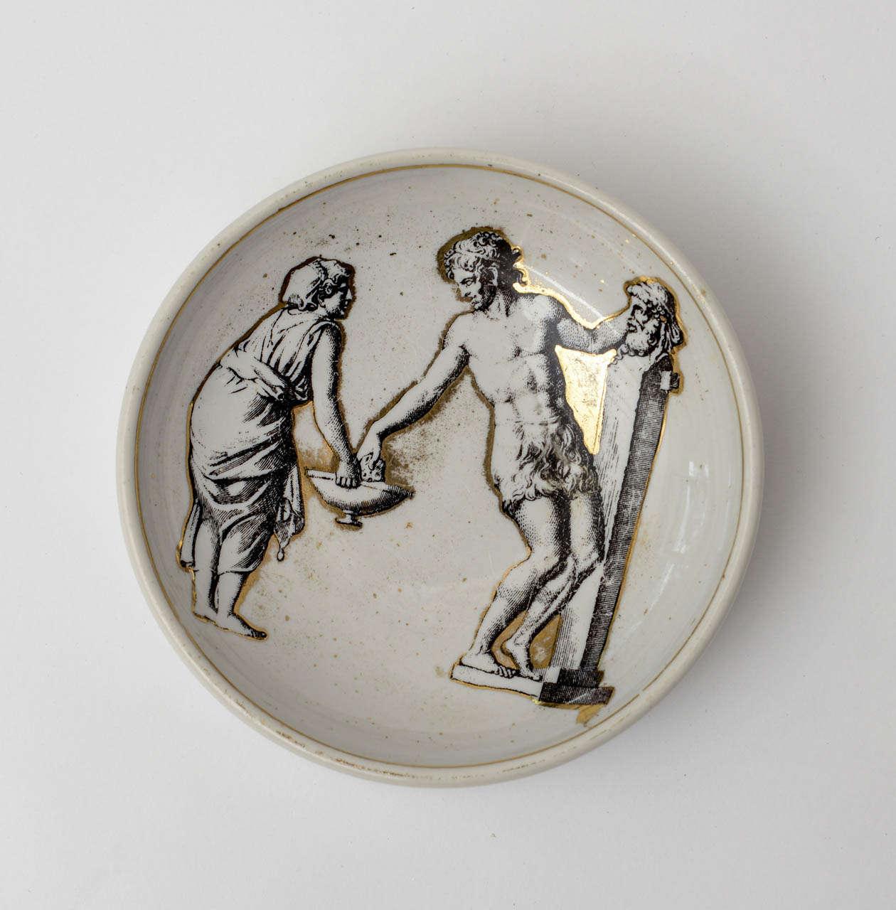 Mid-20th Century Piero Fornasetti Porcelain Bowl Mid-Century Modern For Sale