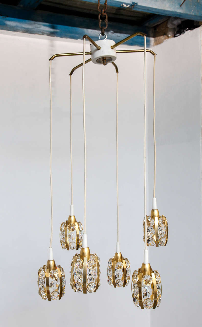 Modern Minimalistic Chrystal Facetted Cascade Chandelier.