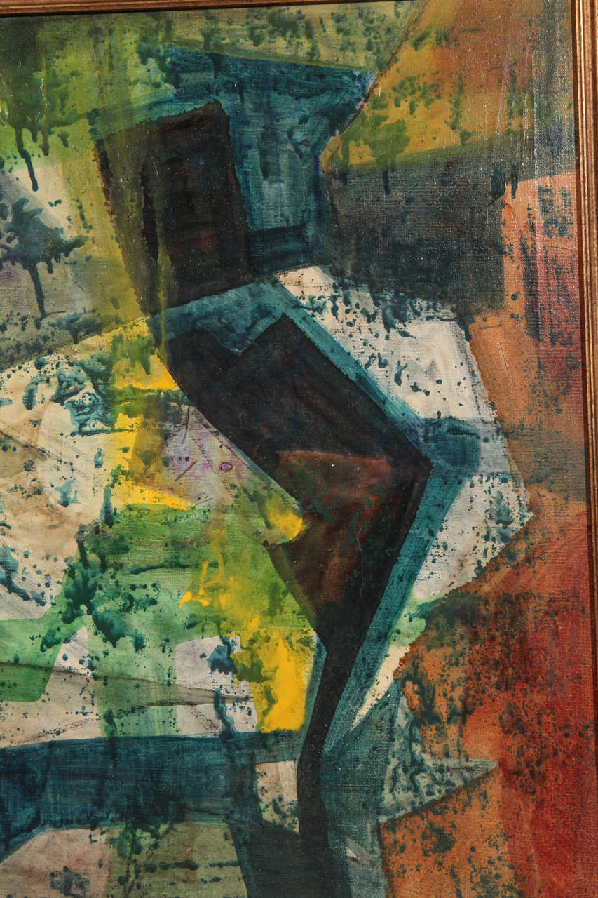 Mid-20th Century Original Mid-Century Abstract Painting For Sale