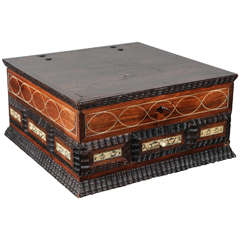 17th Century Spanish Baroque Inlaid Table Box