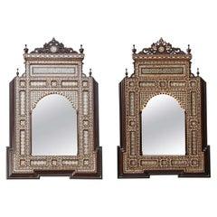 Pair of Levantine Shell and Bone Inlaid Mirrors