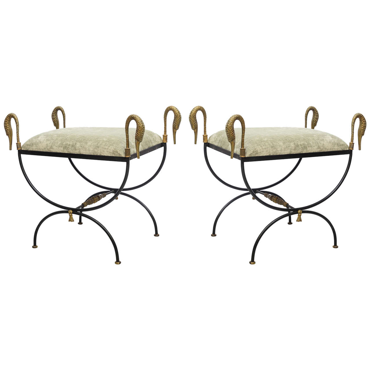 Pair of Neoclassical Iron and Bronze Swan Benches