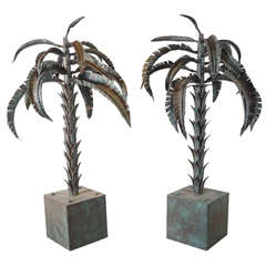 Pair of Ornamental Palm Trees Sculptures