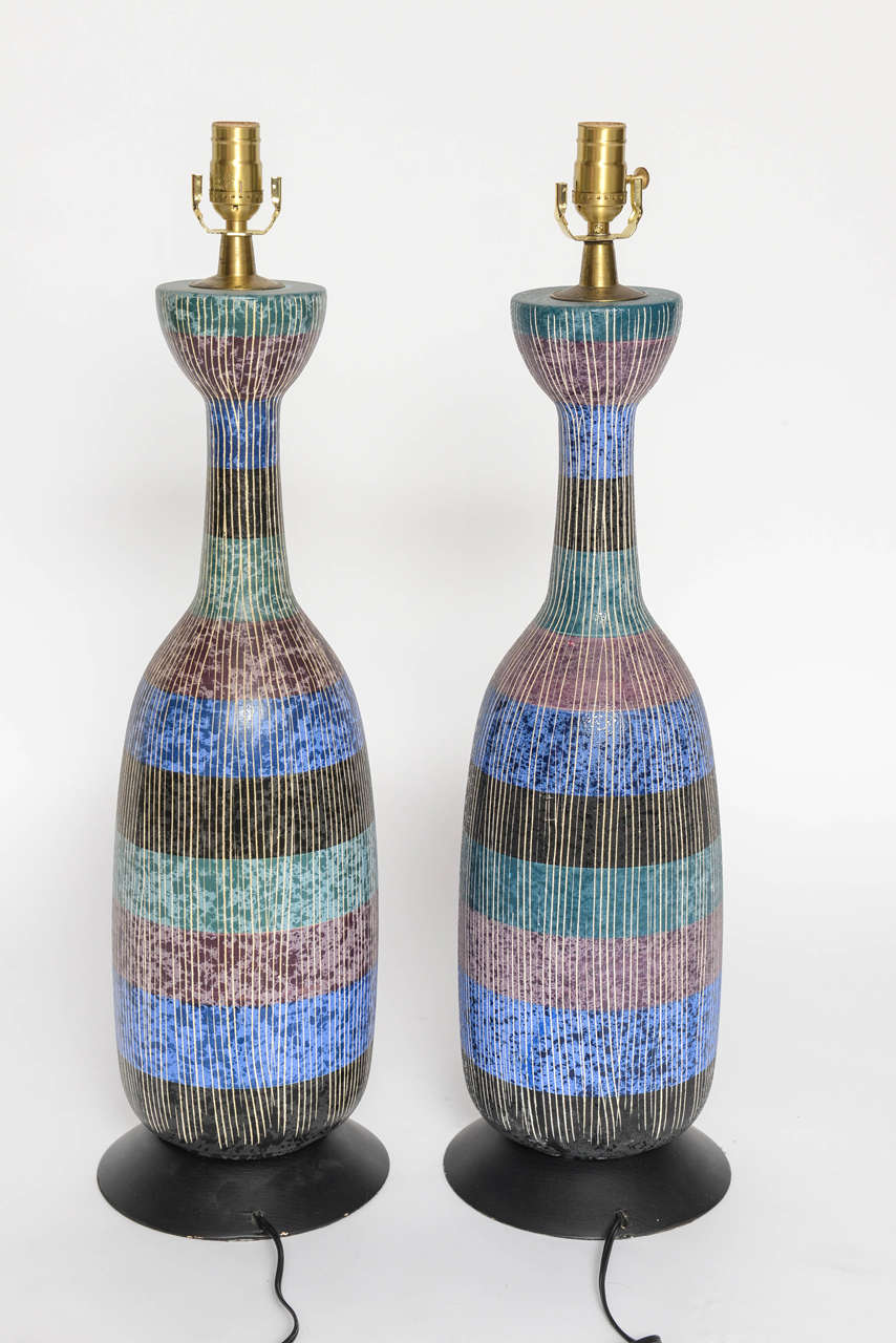 An Italian textured S graffito large-scale ceramic lamps produced in the 1960s by Bitossi.