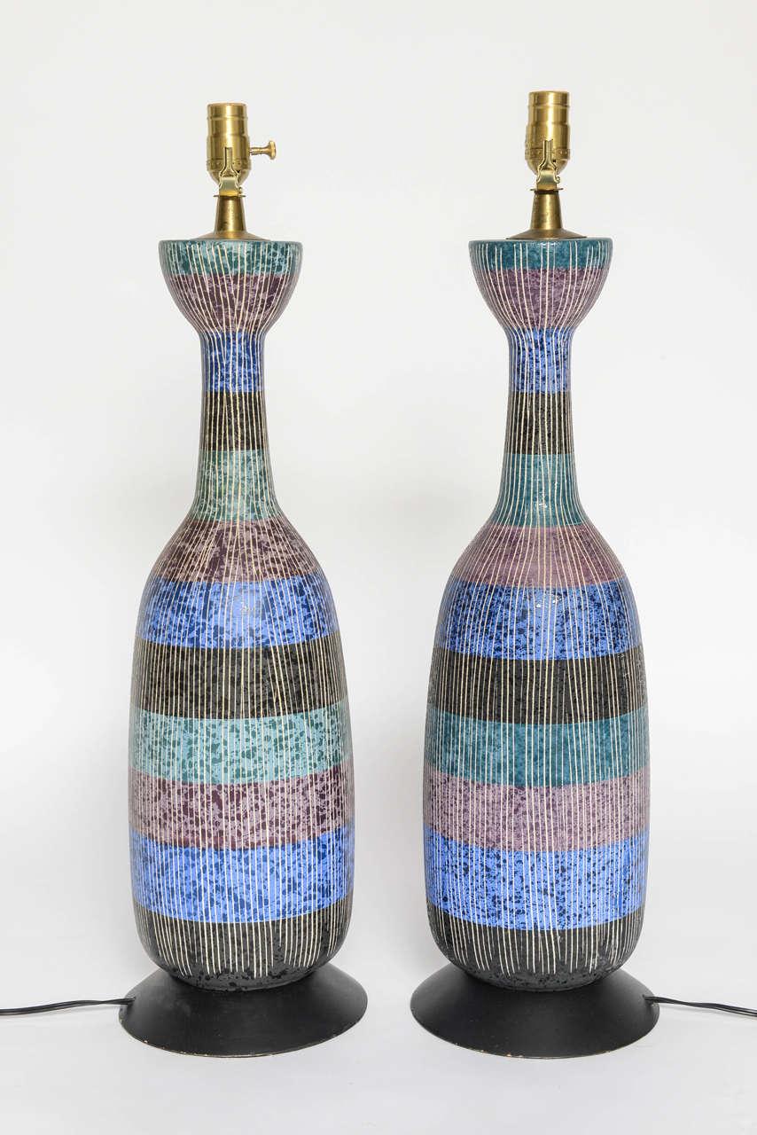 Mid-20th Century Exceptional Pair of Bitossi Italian Multi-Color Ceramic Lamps For Sale
