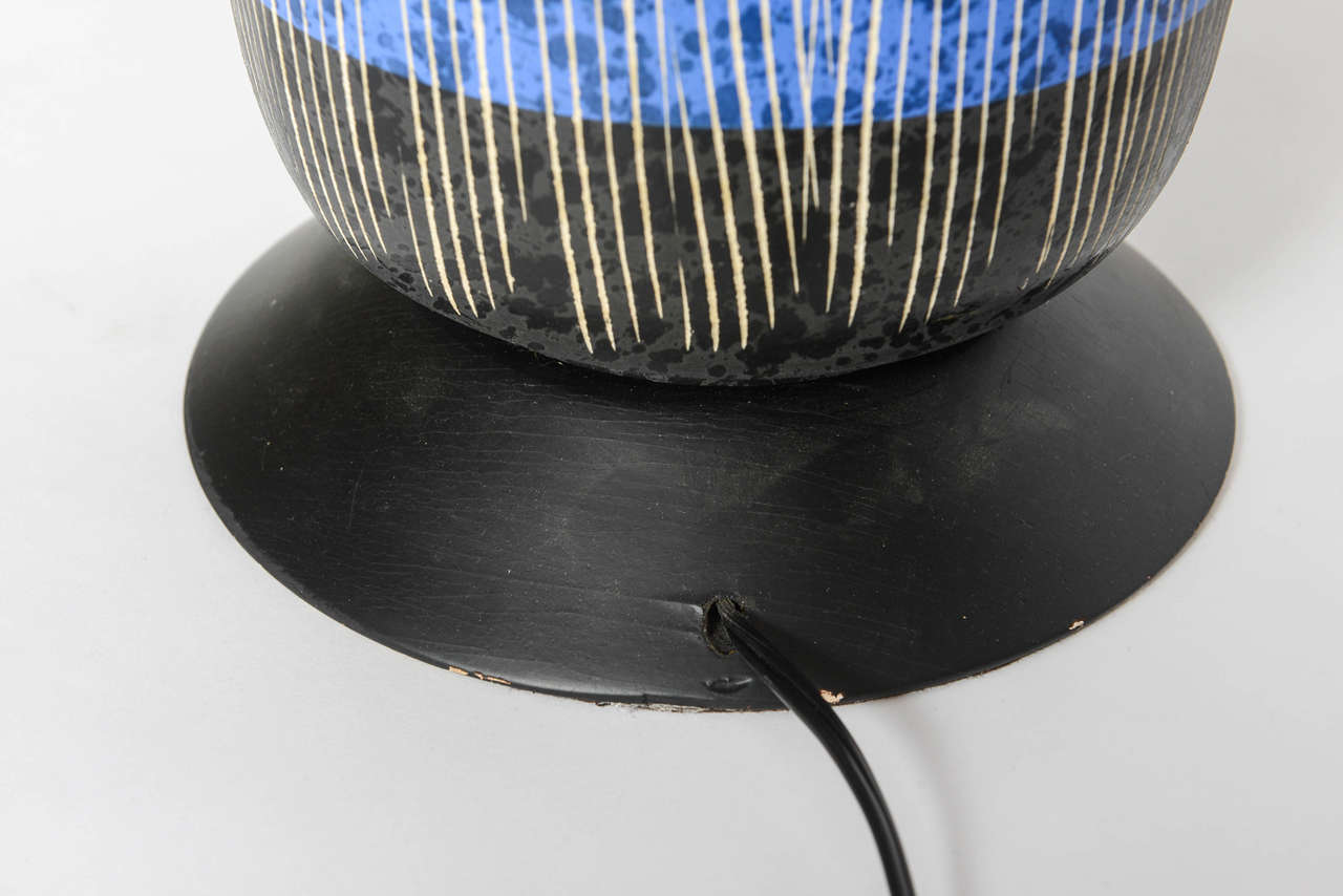 Exceptional Pair of Bitossi Italian Multi-Color Ceramic Lamps For Sale 1