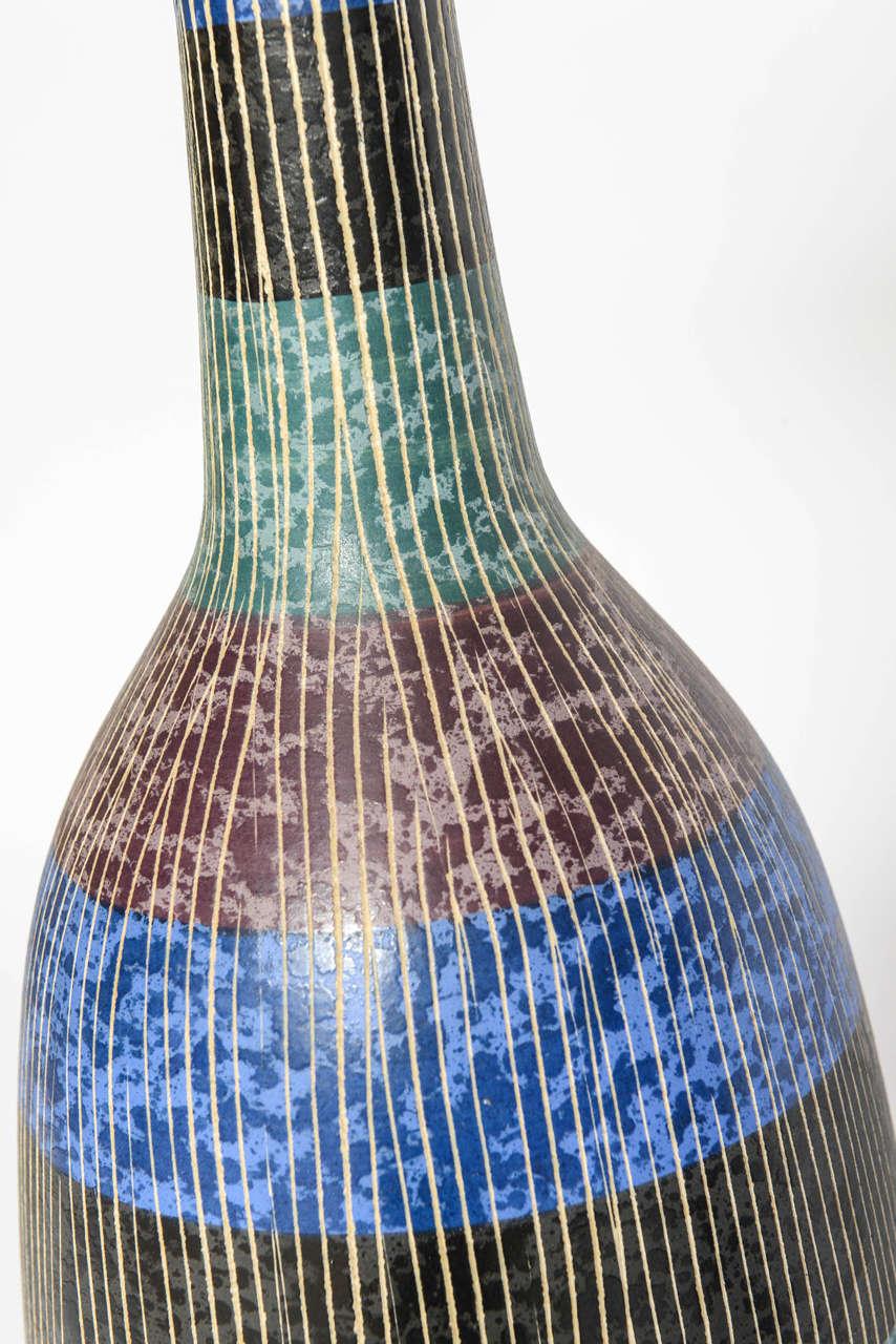 Exceptional Pair of Bitossi Italian Multi-Color Ceramic Lamps For Sale 2