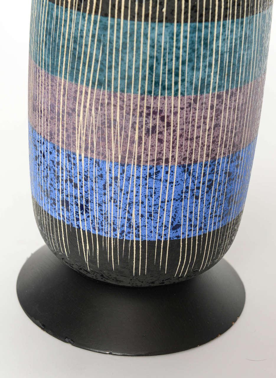 Exceptional Pair of Bitossi Italian Multi-Color Ceramic Lamps For Sale 3
