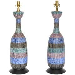 Exceptional Pair of Bitossi Italian Multi-Color Ceramic Lamps
