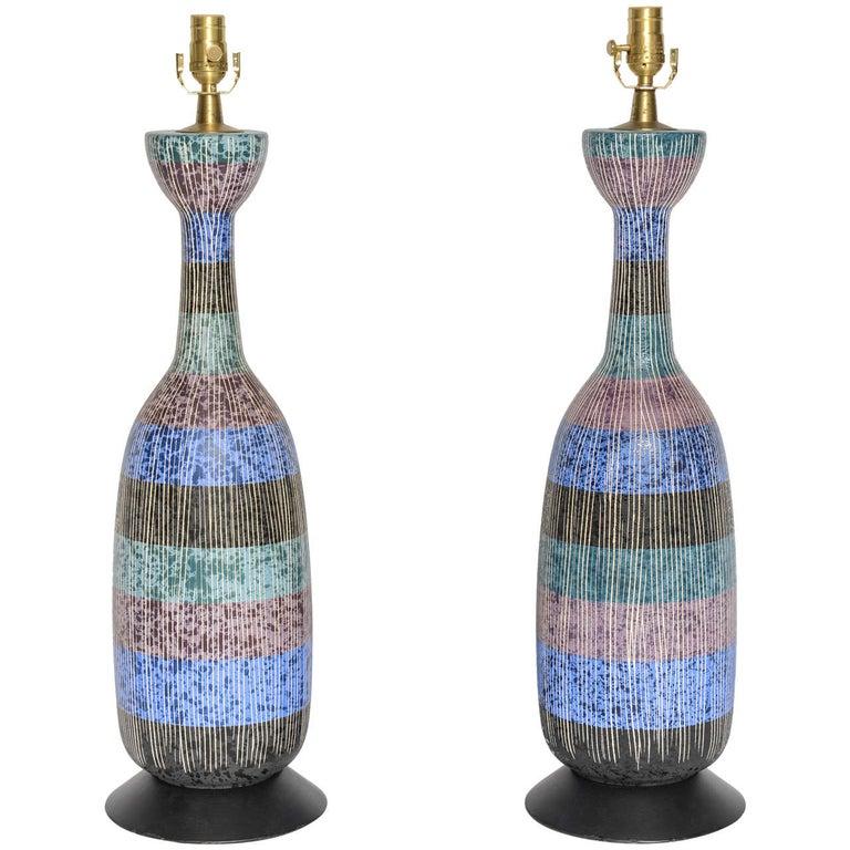 Exceptional Pair of Bitossi Italian Multi-Color Ceramic Lamps For Sale