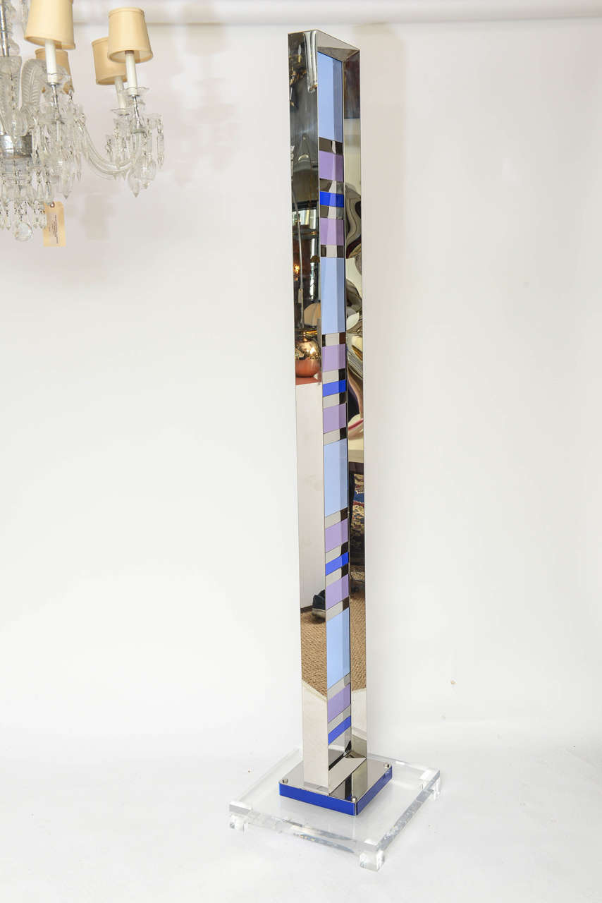 Exceptional Vintage Lucite and Chrome Sculpture, Signed For Sale 2