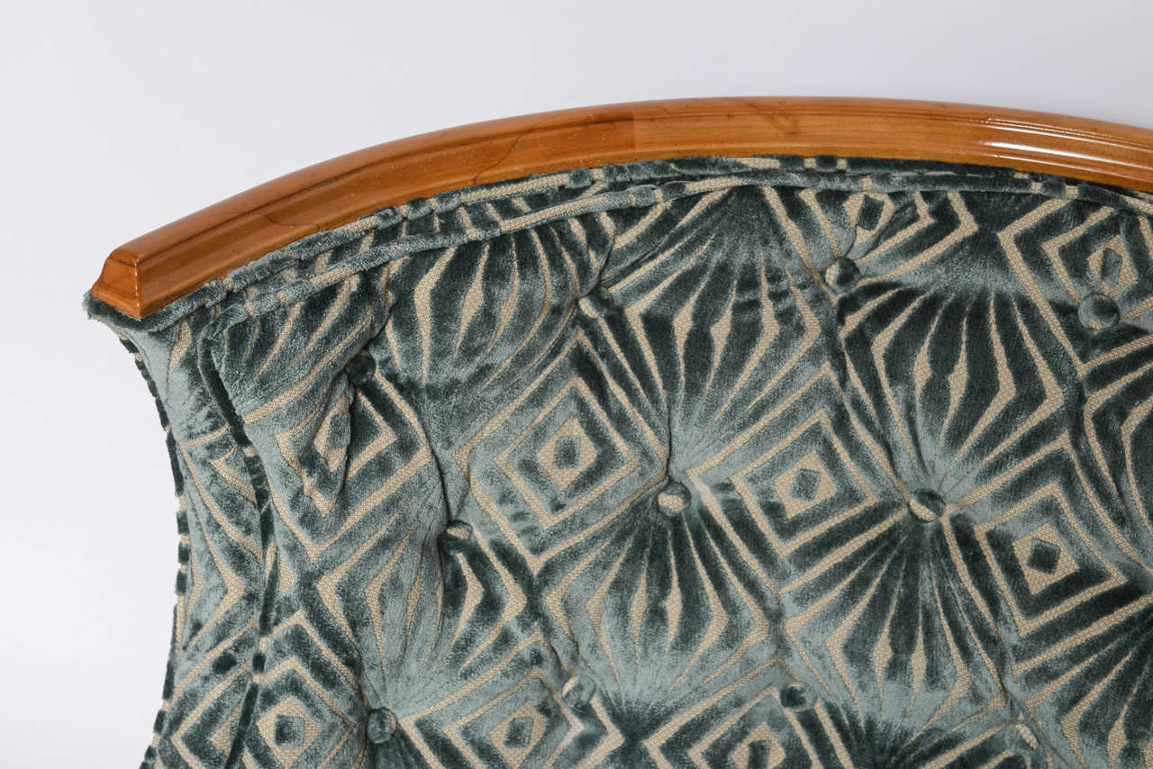 American Grosfeld House, 1940s Glamorous Curved Slipper Chair For Sale