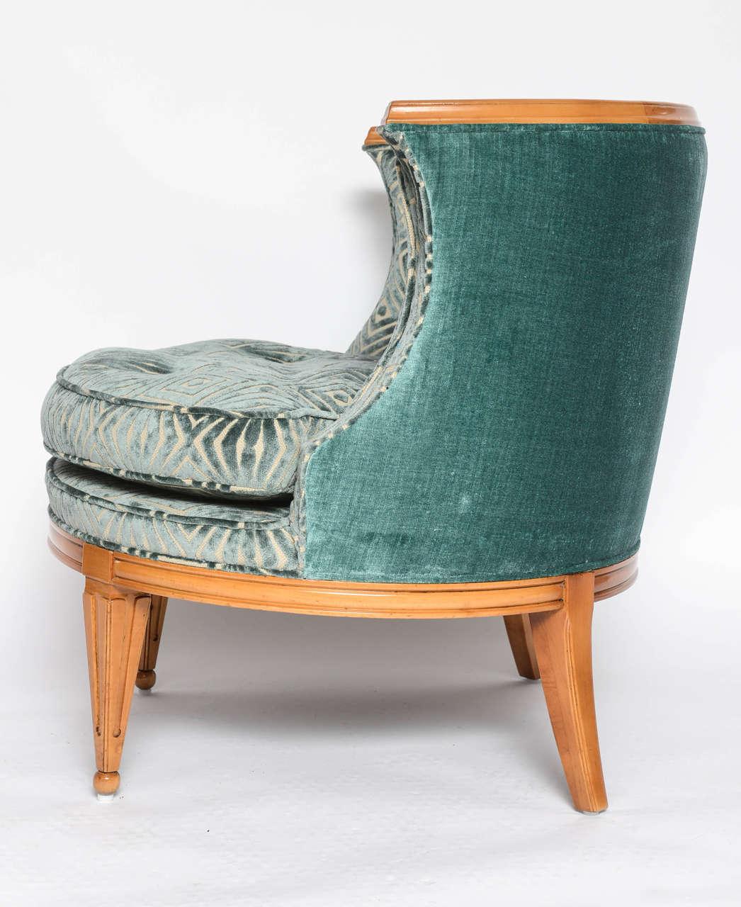 Velvet Grosfeld House, 1940s Glamorous Curved Slipper Chair For Sale
