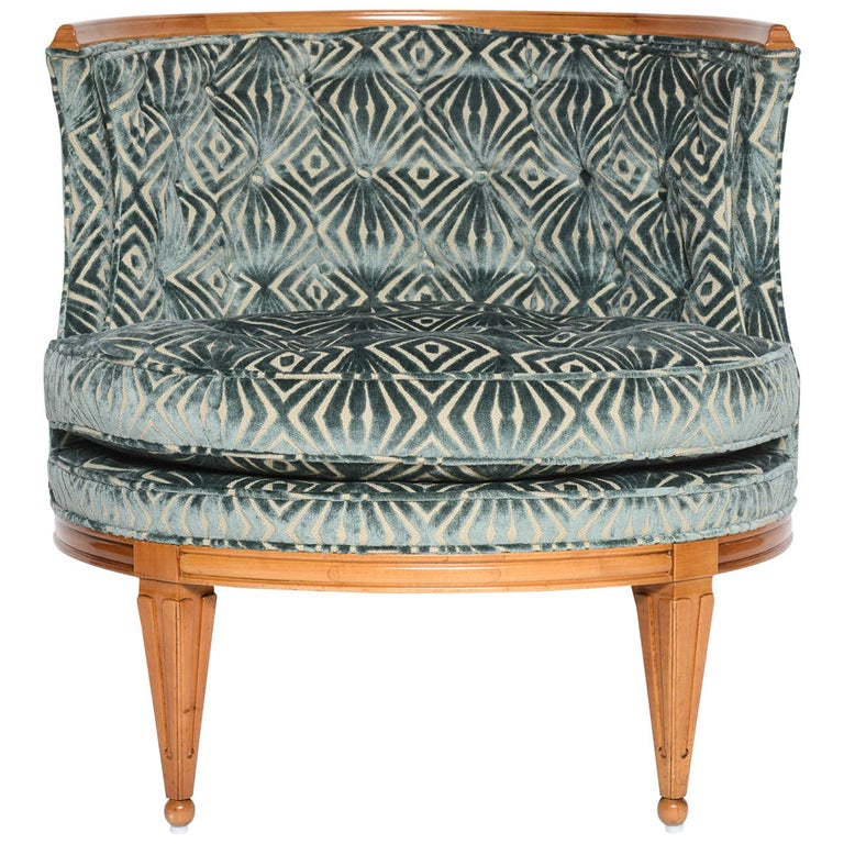 Grosfeld House, 1940s Glamorous Curved Slipper Chair For Sale