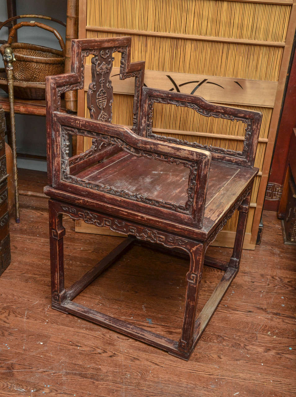 Early 19th Century Qing Dynasty Shanxi Carved Scholar's Open Armchair 2