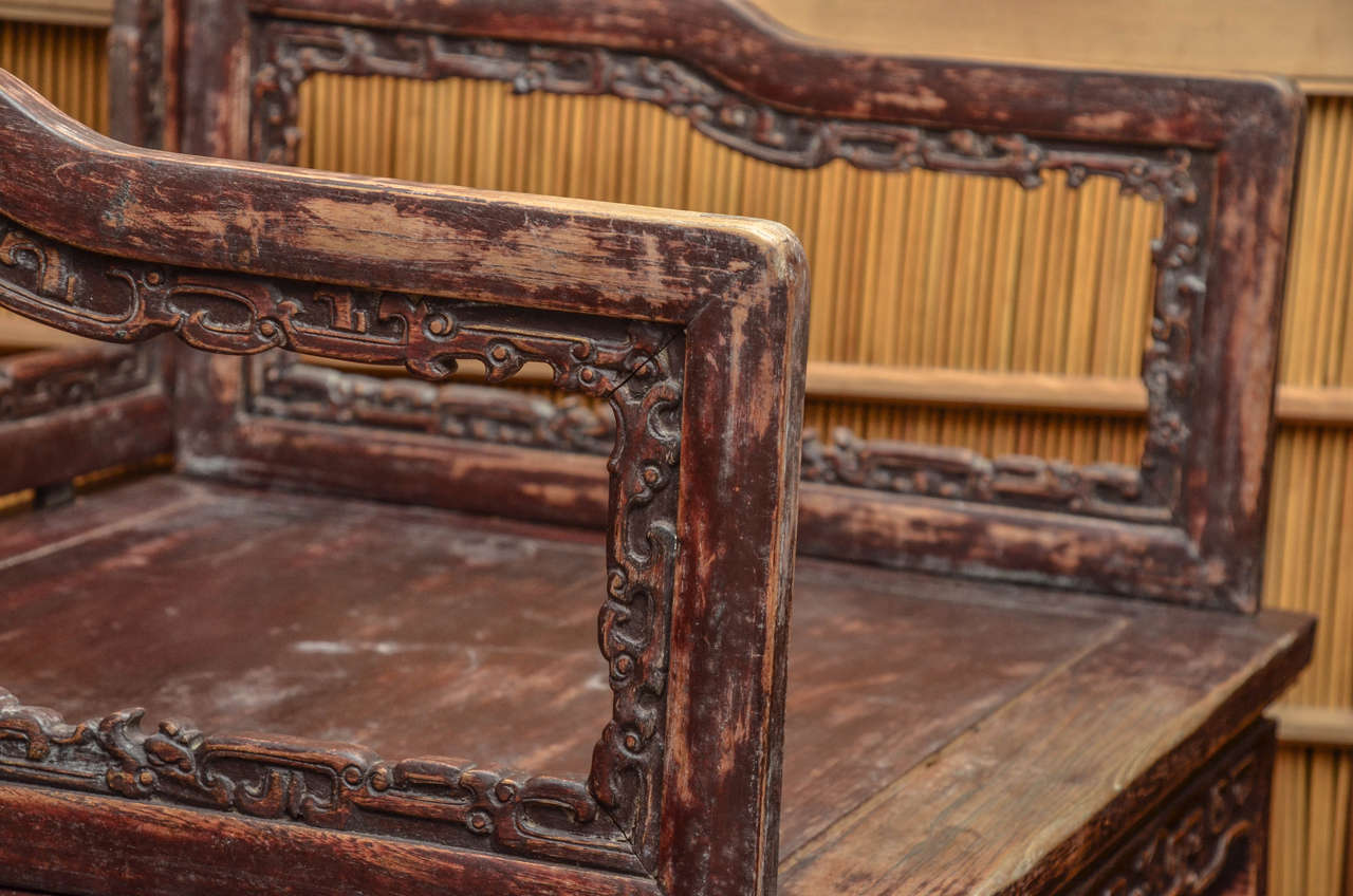 Chinese Early 19th Century Qing Dynasty Shanxi Carved Scholar's Open Armchair For Sale