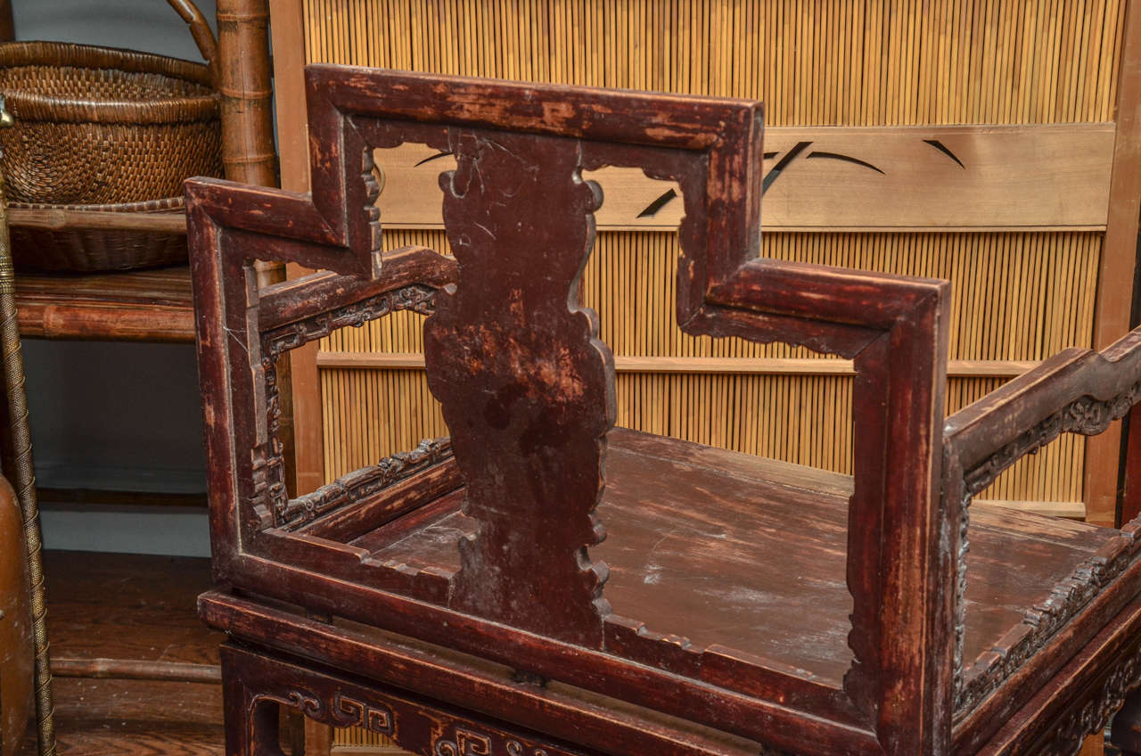 Early 19th Century Qing Dynasty Shanxi Carved Scholar's Open Armchair For Sale 2