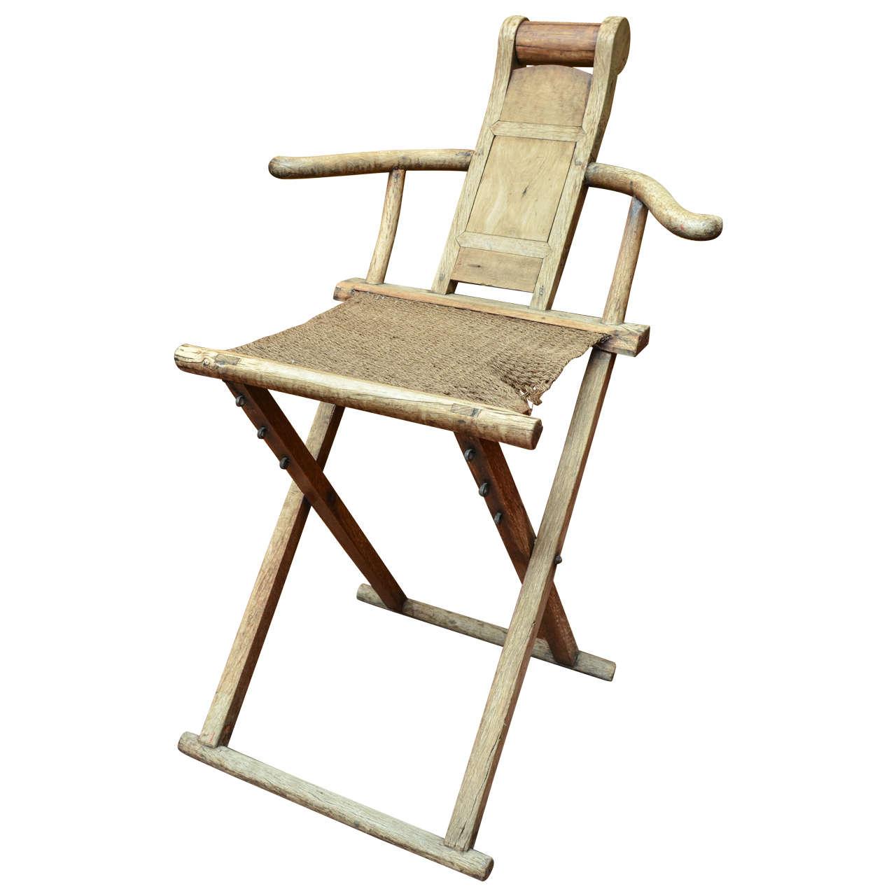 Late 18th Century Qing Dynasty Walnut Folding Campaign Form Scholar's Chair
