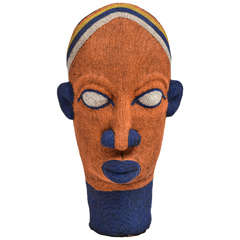 Large-Scale Vintage African Beaded Head Sculpture
