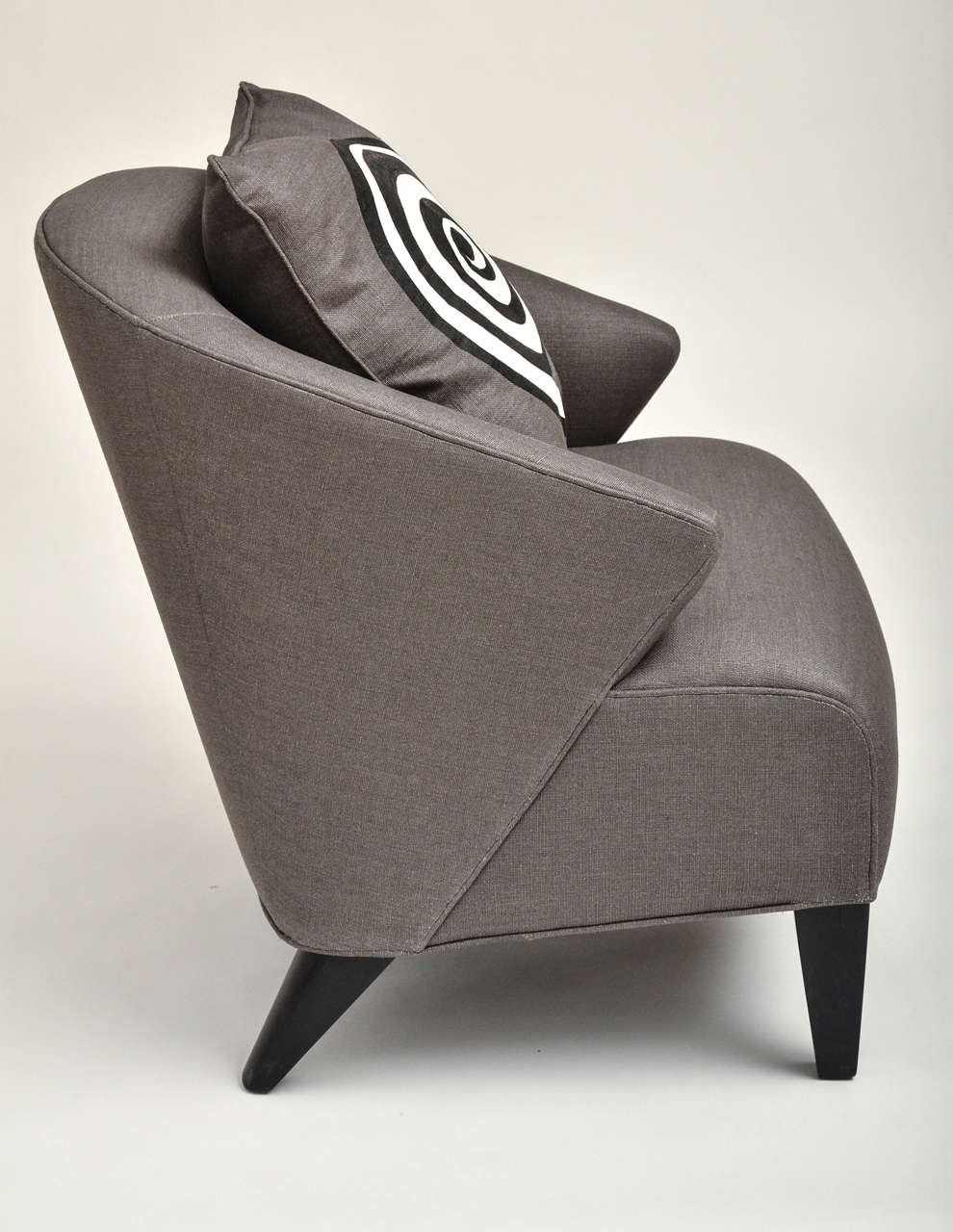 20th Century Mid-Century Modern Upholstered Chair with Hand-Painted Pillow For Sale