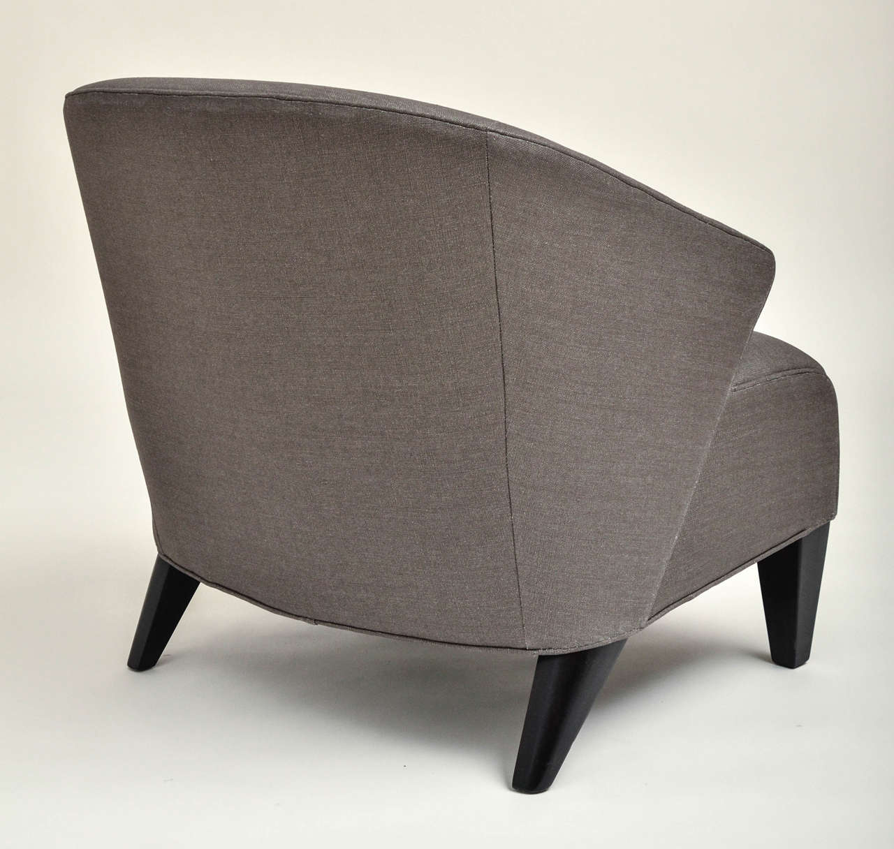 mid century modern upholstered chair with hand painted pillow for sale
