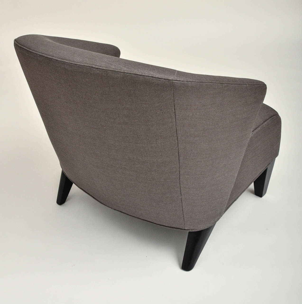 Mid-Century Modern Upholstered Chair with Hand-Painted Pillow For Sale 2