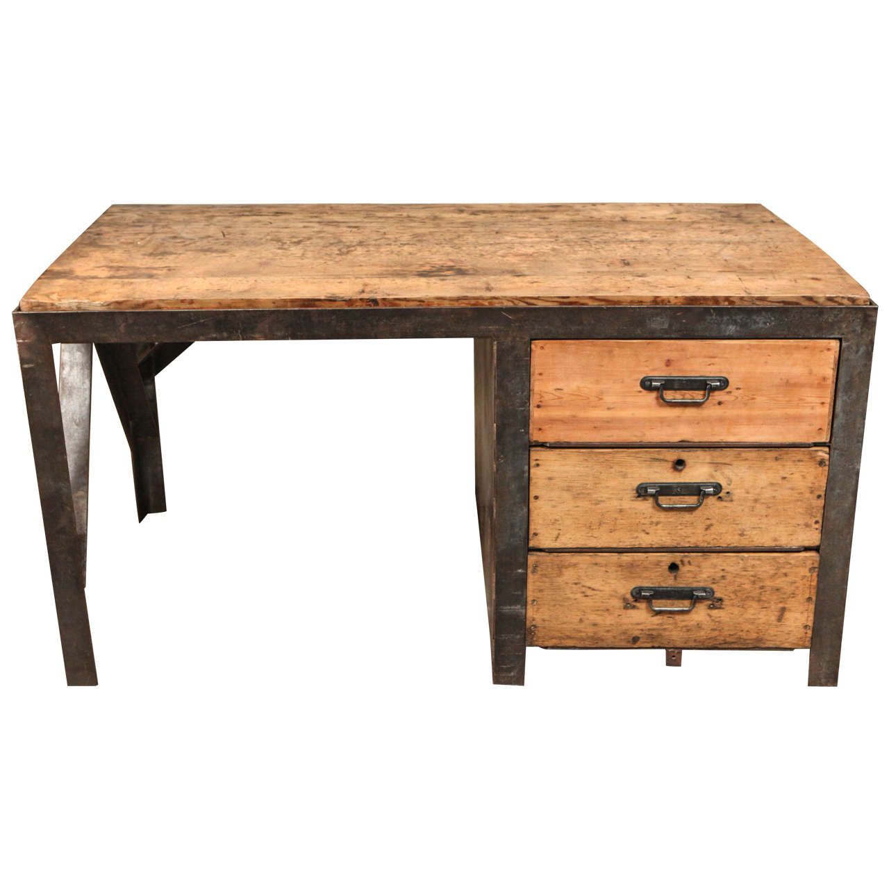th century desk in metal with wood top and drawers at stdibs - th century desk in metal with wood top and drawers